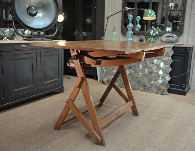 French Adjustable Architect's Drafting Table or Writing Desk, with Lamp, circa 1920s