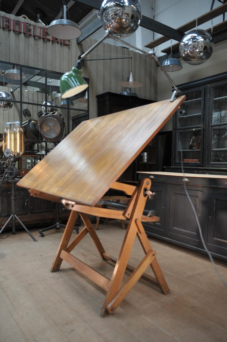 Adjustable Architect's Drafting Table or Writing Desk, with Lamp, circa 1920s 1