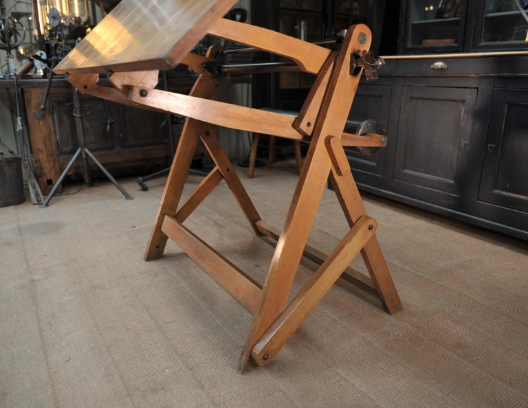 Adjustable Architect's Drafting Table or Writing Desk, with Lamp, circa 1920s 2