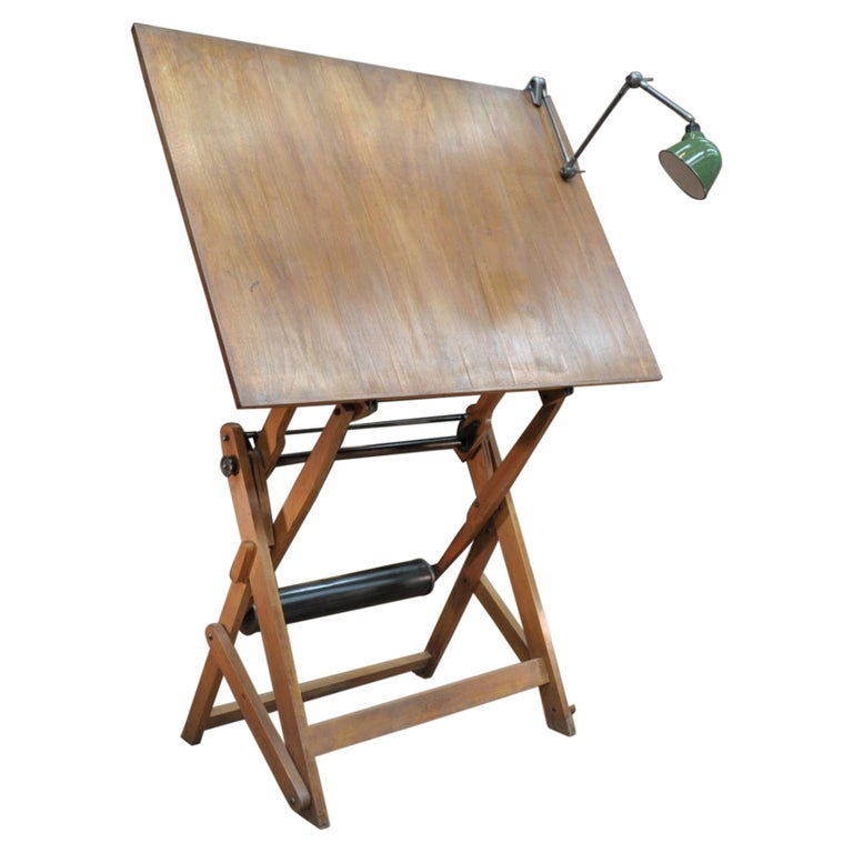 Adjustable Architect's Drafting Table or Writing Desk, with Lamp, circa 1920s