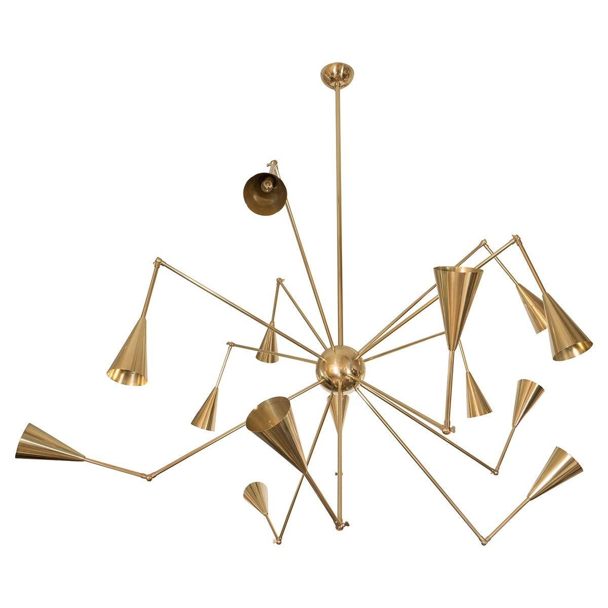 Adjustable Arm Brass Chandelier with Fourteen Conical Shades