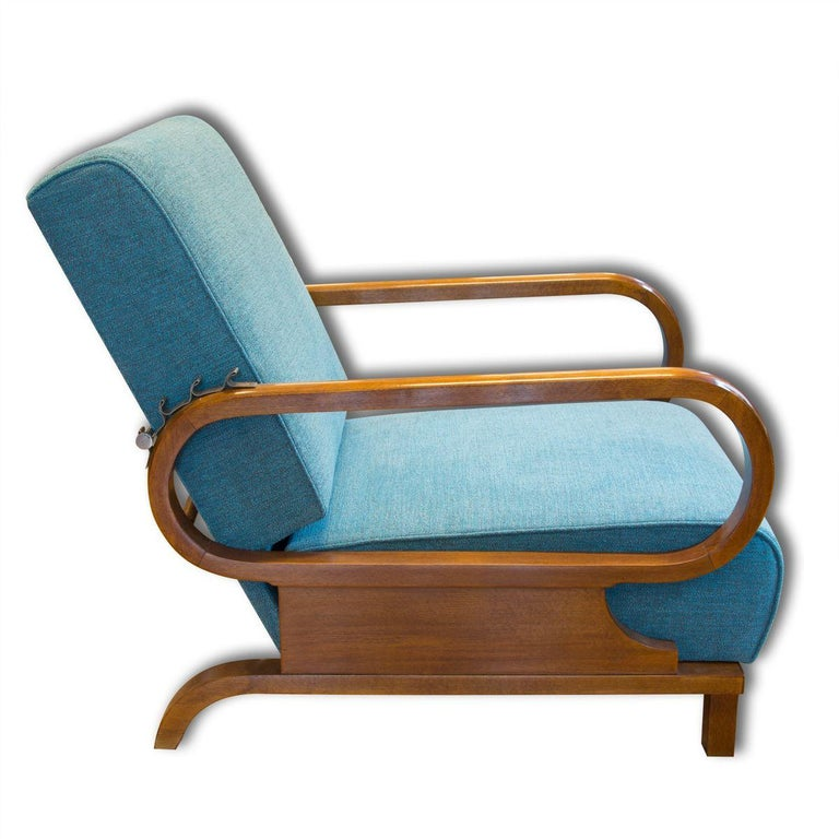 Adjustable Art Deco Armchairs, 1930s, Set of 2 In Excellent Condition In Prague 8, CZ