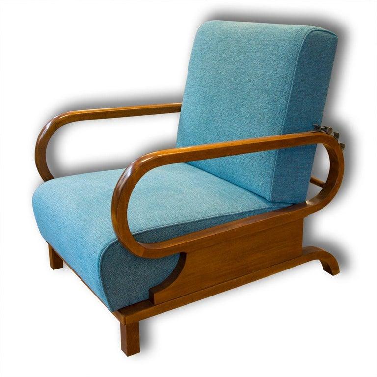 Fabric Adjustable Art Deco Armchairs, 1930s, Set of 2