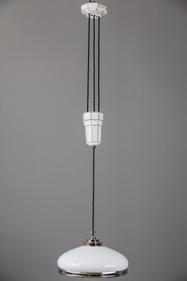 Austrian  Adjustable Art Deco Chandelier 1920s by Bauhaus For Sale
