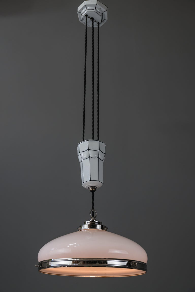 Early 20th Century  Adjustable Art Deco Chandelier 1920s by Bauhaus For Sale