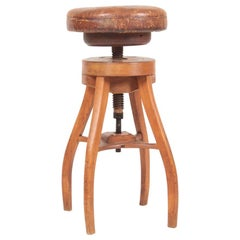 Adjustable Artist Stool in Oak and Patinated Leather, Denmark, 1930s