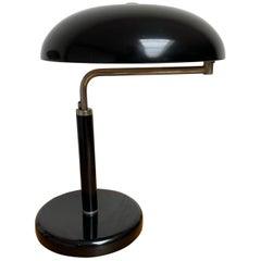 Adjustable Bauhaus Table or Desk Lamp Blackened & Chrome Metal by Belmag Zurich