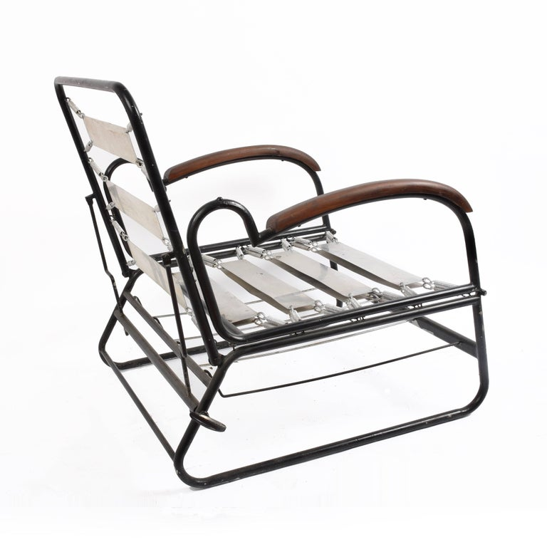 Adjustable Bed Armchair with Marcel Breuer Style Metal and Wood Structure, 1930s For Sale 4