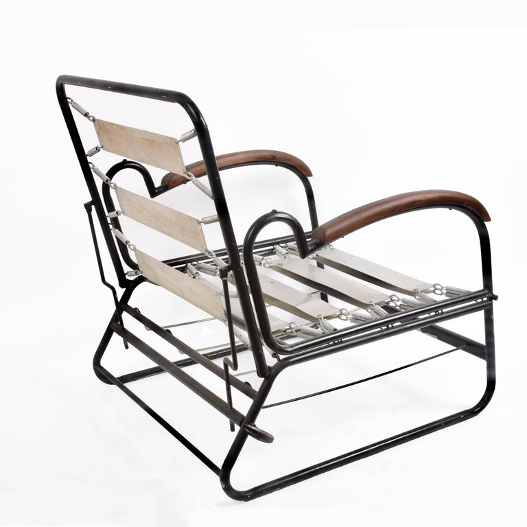 Adjustable Bed Armchair with Marcel Breuer Style Metal and Wood Structure, 1930s For Sale 5
