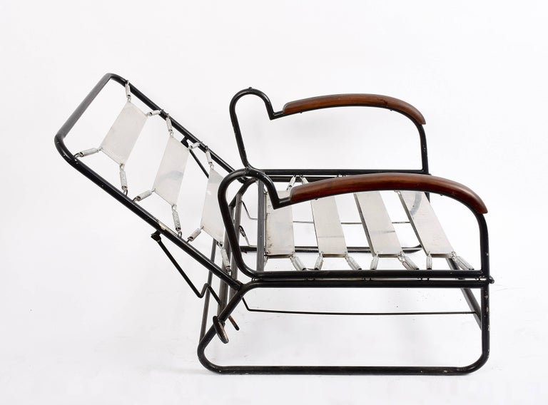 Adjustable Bed Armchair with Marcel Breuer Style Metal and Wood Structure, 1930s For Sale 7