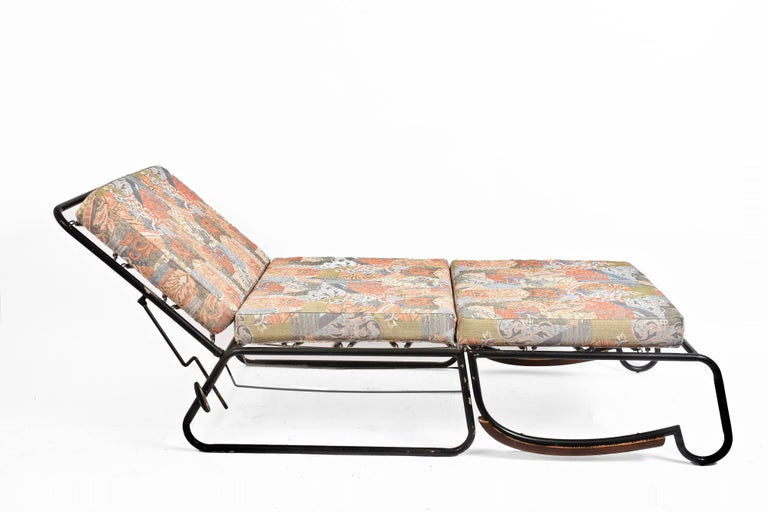 Adjustable Bed Armchair with Marcel Breuer Style Metal and Wood Structure, 1930s For Sale 9