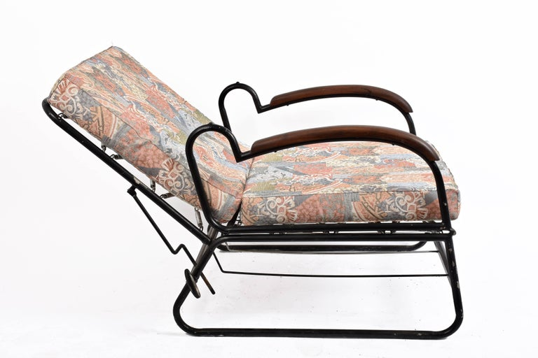 Adjustable Bed Armchair with Marcel Breuer Style Metal and Wood Structure, 1930s For Sale 11