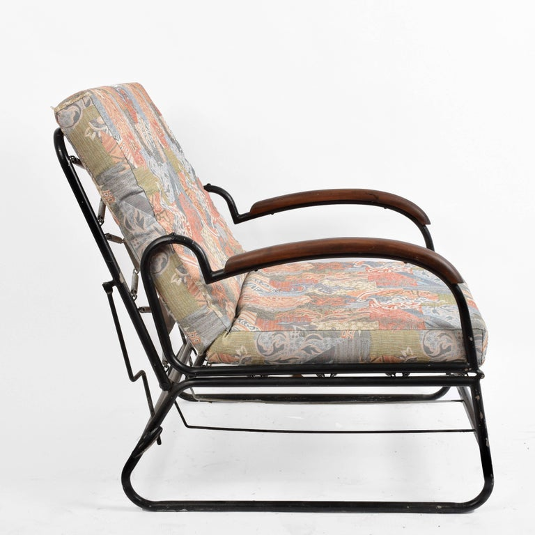 Adjustable Bed Armchair with Marcel Breuer Style Metal and Wood Structure, 1930s For Sale 12