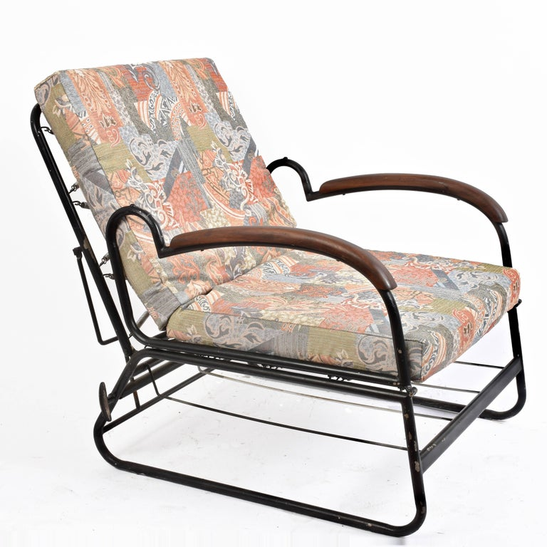Adjustable Bed Armchair with Marcel Breuer Style Metal and Wood Structure, 1930s For Sale 13