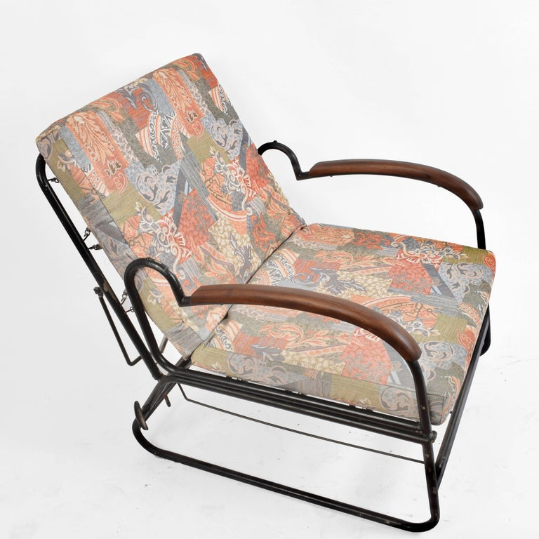 Adjustable Bed Armchair with Marcel Breuer Style Metal and Wood Structure, 1930s For Sale 14