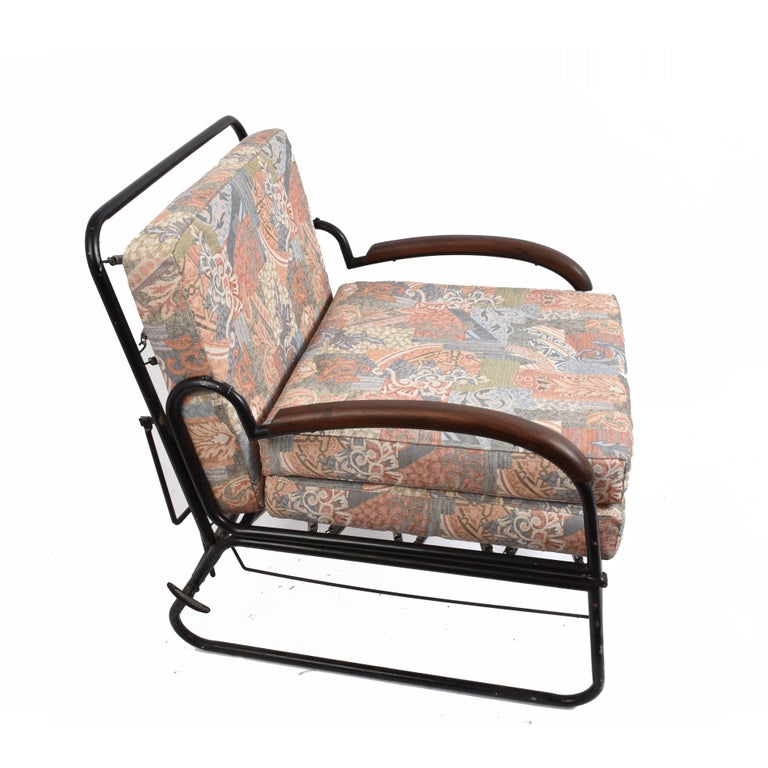 Art Deco Adjustable Bed Armchair with Marcel Breuer Style Metal and Wood Structure, 1930s For Sale