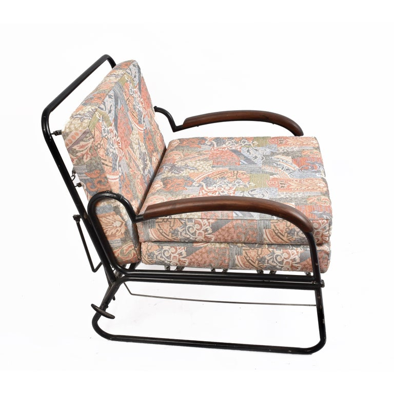 Italian Adjustable Bed Armchair with Marcel Breuer Style Metal and Wood Structure, 1930s For Sale