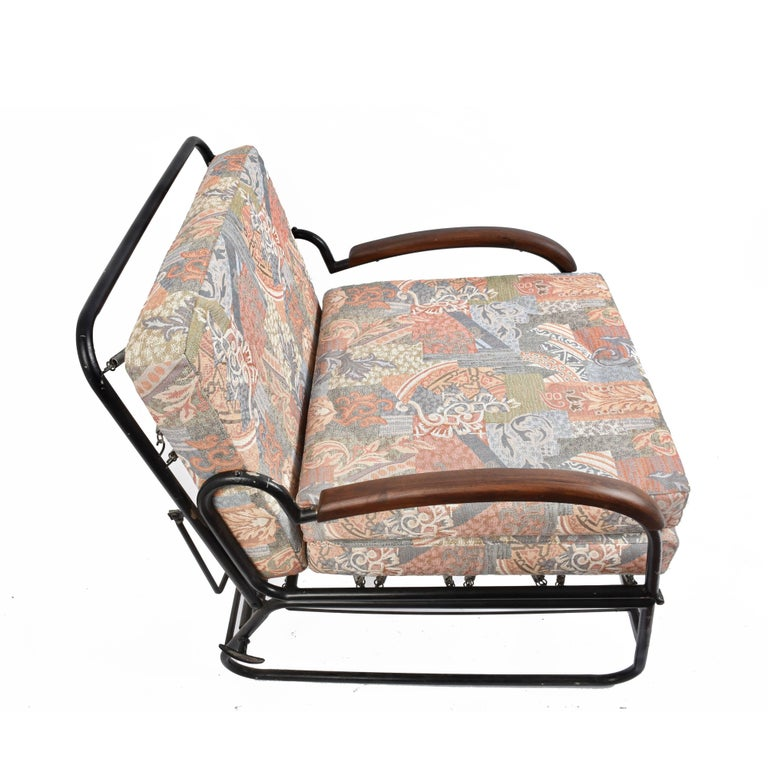 Mid-20th Century Adjustable Bed Armchair with Marcel Breuer Style Metal and Wood Structure, 1930s For Sale