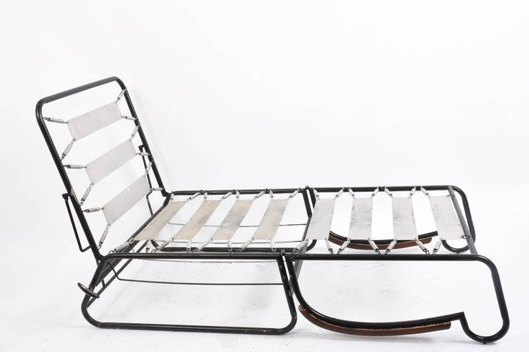 Adjustable Bed Armchair with Marcel Breuer Style Metal and Wood Structure, 1930s For Sale 1