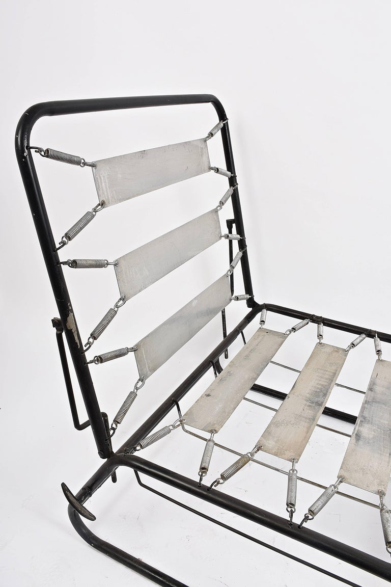 Adjustable Bed Armchair with Marcel Breuer Style Metal and Wood Structure, 1930s For Sale 2