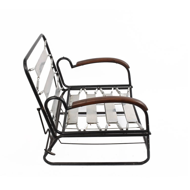 Adjustable Bed Armchair with Marcel Breuer Style Metal and Wood Structure, 1930s For Sale 3