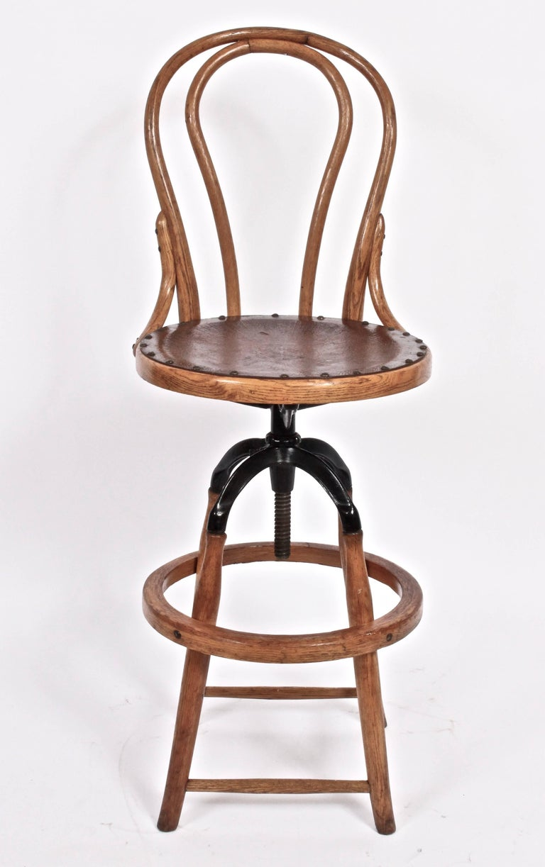 Cool Circa 1910 Adjustable High Back Swivel Chair In Oak Bentwood Caraccident5 Cool Chair Designs And Ideas Caraccident5Info
