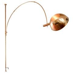 Adjustable Brass Arc Floor Lamp Boca by Florian Schulz, Germany, 1960-70s