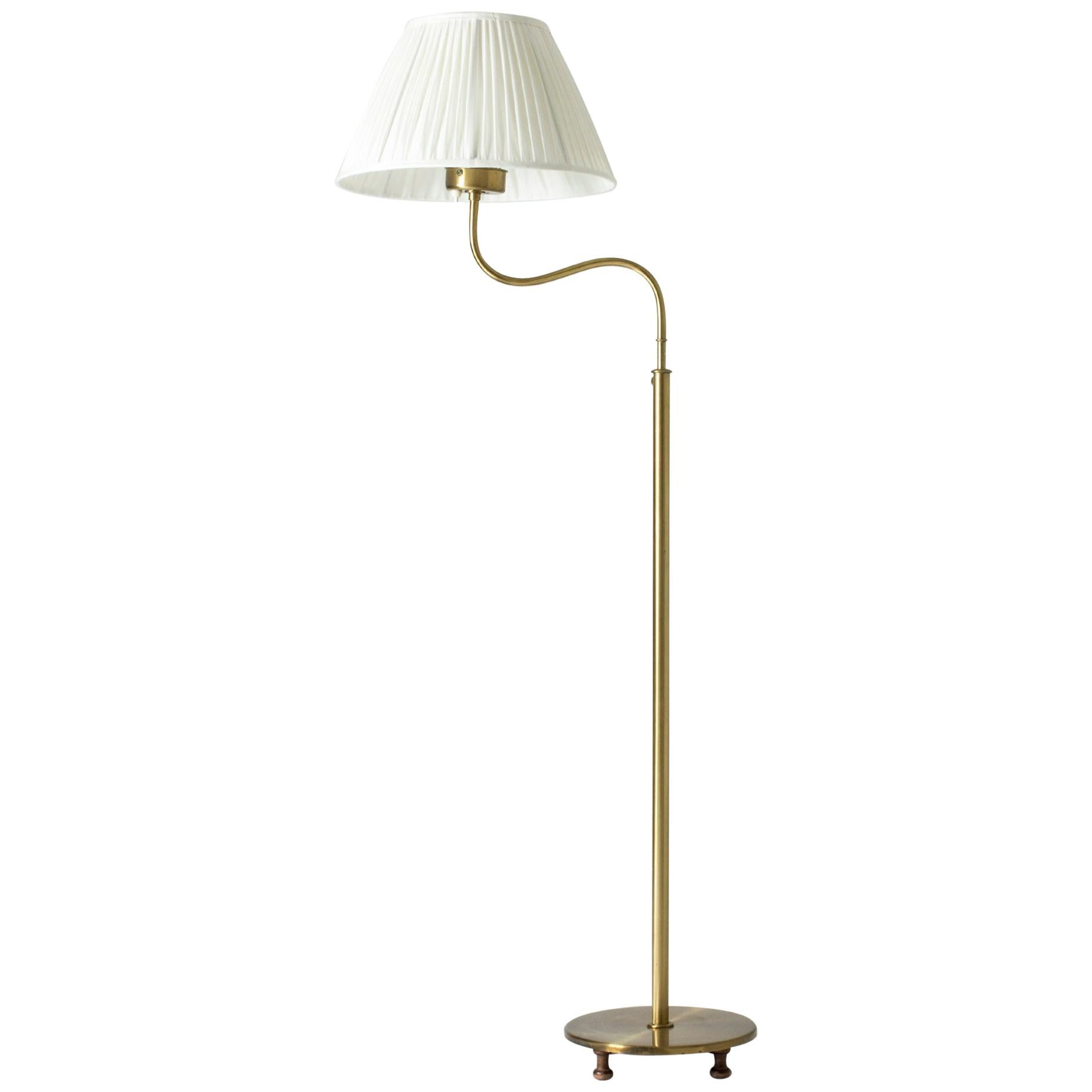 "Adjustable Brass ""Camel"" Floor Lamp by Josef Frank for Svenskt Tenn, Sweden"