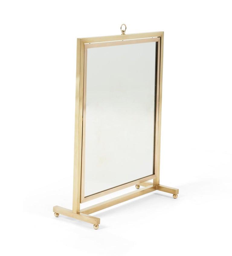 Brass vanity/table top mirror in adjustable stand.  Back side of mirror is Italian walnut panel.