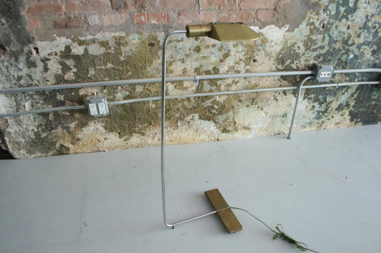 Patinated brass and chrome stand floor lamp by Cedric Hartman. The
