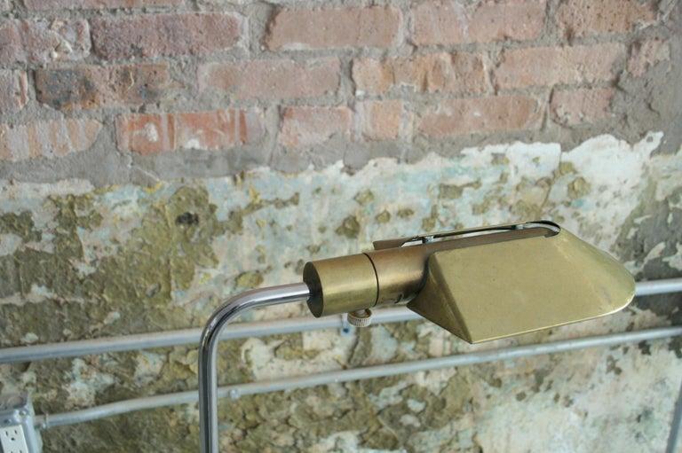Mid-Century Modern Adjustable Cedric Hartman Brass and Chrome Reading Lamp For Sale