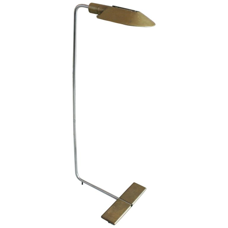 Adjustable Cedric Hartman Brass and Chrome Reading Lamp For Sale