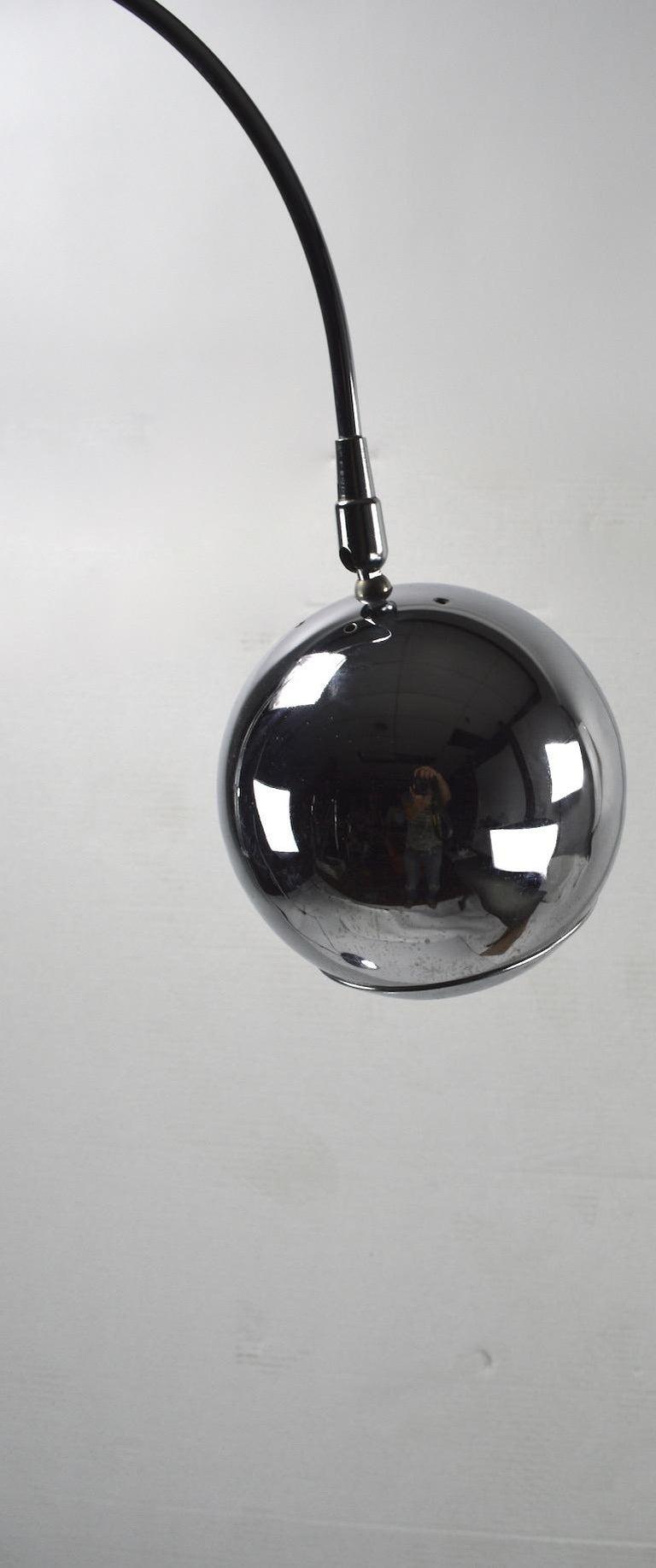 Adjustable Chrome Arc Lamp with Eyeball Shade For Sale 4