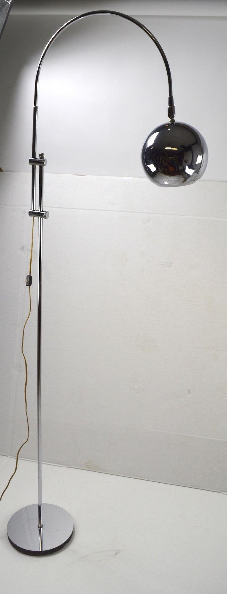 Mid-Century Modern Adjustable Chrome Arc Lamp with Eyeball Shade For Sale