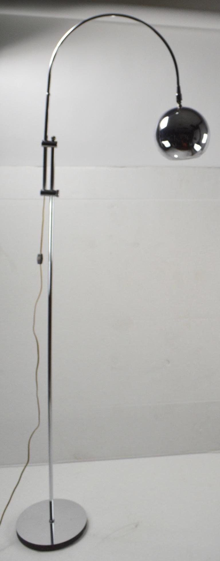 American Adjustable Chrome Arc Lamp with Eyeball Shade For Sale