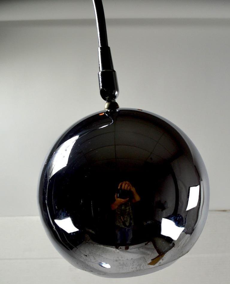 Late 20th Century Adjustable Chrome Arc Lamp with Eyeball Shade For Sale