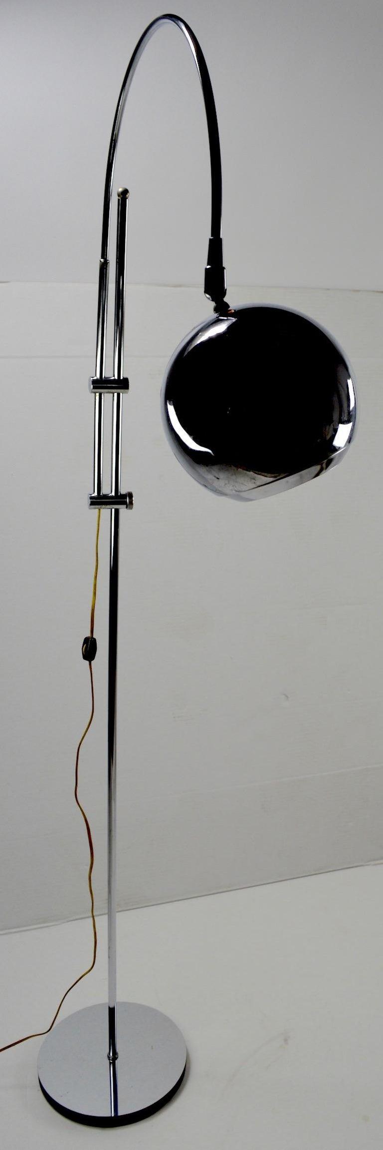 Adjustable Chrome Arc Lamp with Eyeball Shade For Sale 1