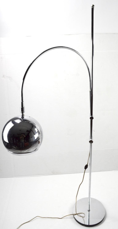 Adjustable Chrome Arc Lamp with Eyeball Shade For Sale 2