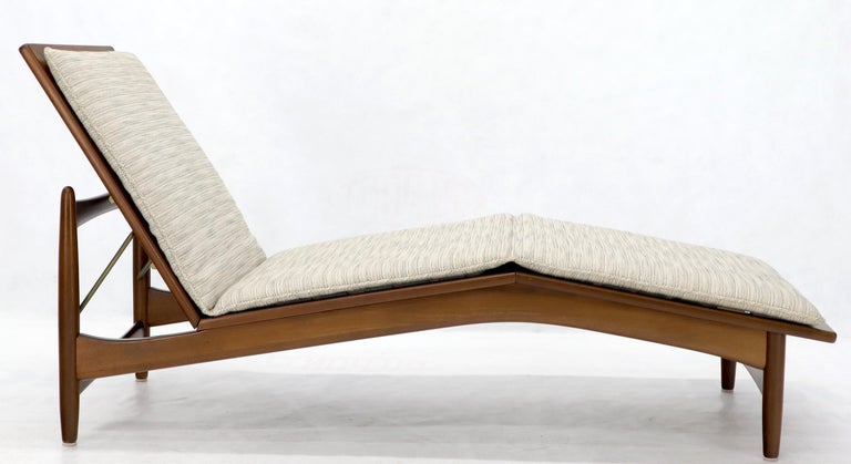 Danish Mid-Century Modern light grey upholstery adjustable chaise lounge by Selig.