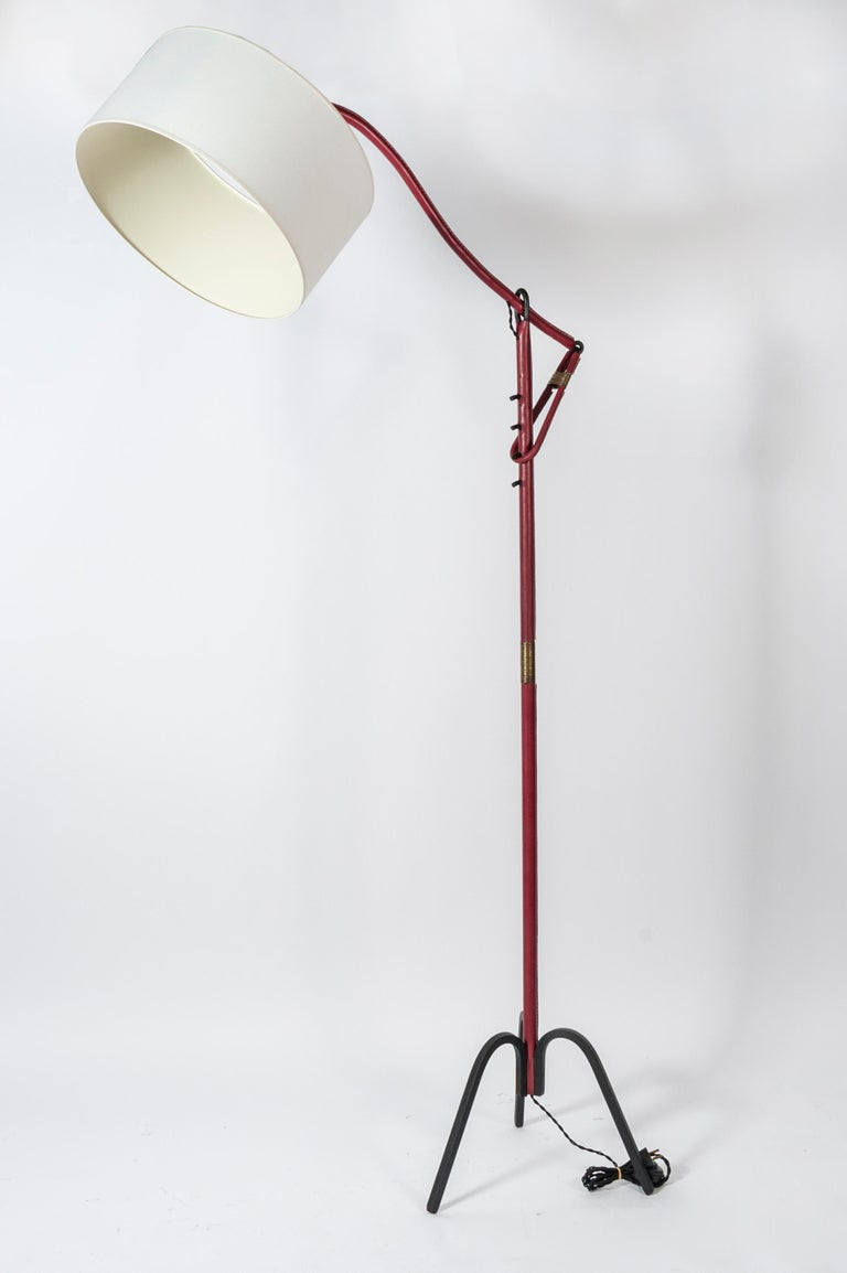 Adjustable Floor Lamp Covered with Leather by Jacques Adnet For Sale 1