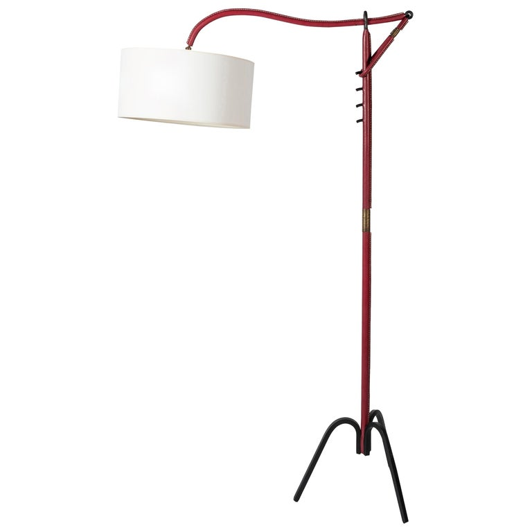 Adjustable Floor Lamp Covered with Leather by Jacques Adnet For Sale