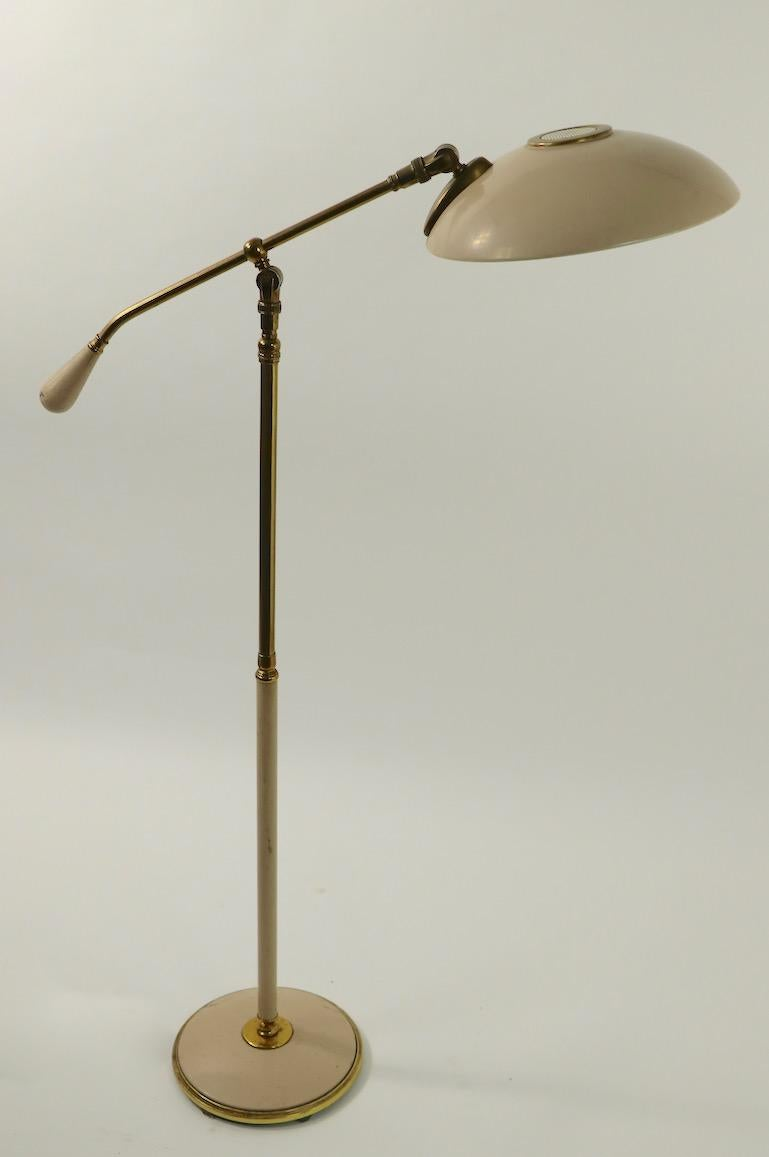 Adjustable Floor Lamp With Saucer Shade By Thurston For Lightolier For Sale At 1stdibs