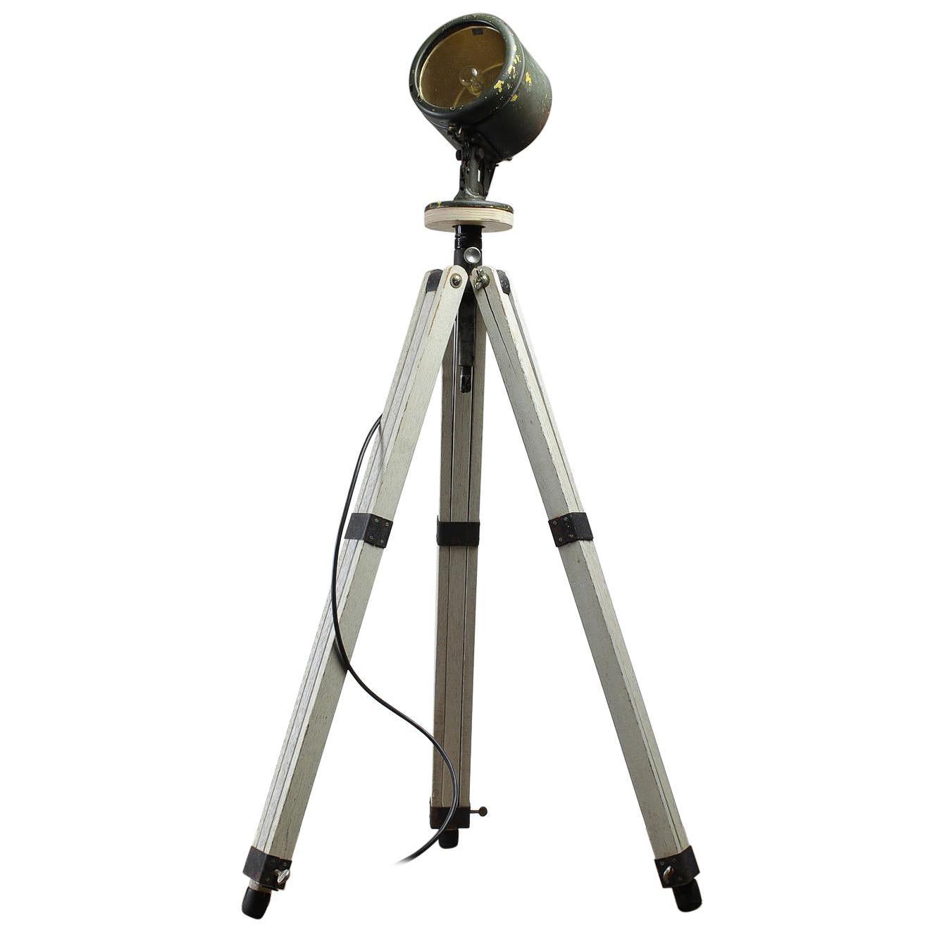 Adjustable Floor Spotlight Tripod Base, 20th Century