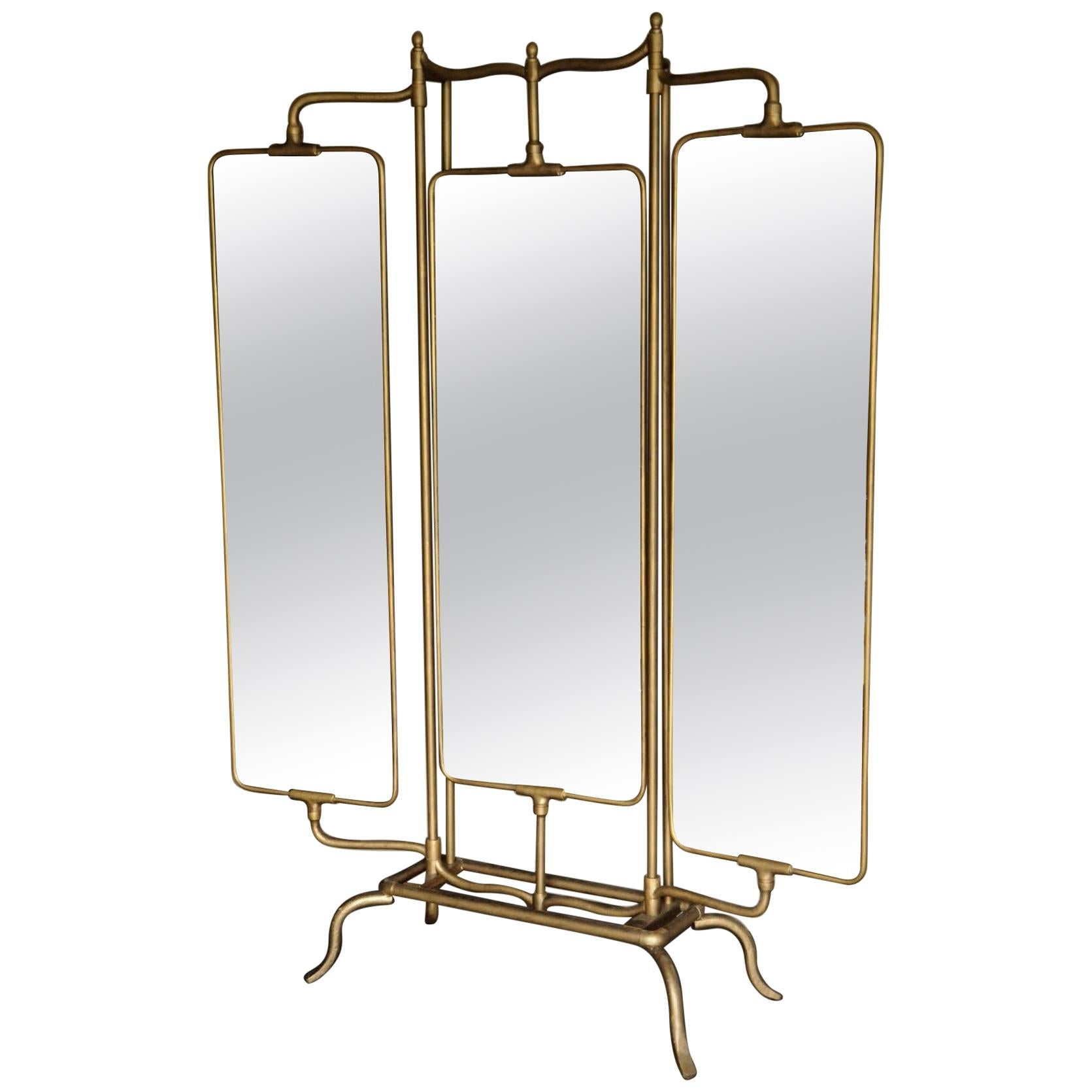Adjustable Floor Triptych and Psyche Brass Mirror in Antique Style