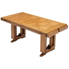 Adjustable French Side Table in Oak with Inlayed Top
