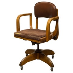 Adjustable Gunlocke Leather and Oak Swivel Desk Chair, circa 1940