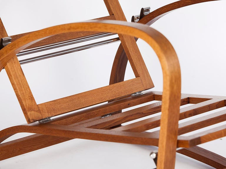 Adjustable H-70 Armchair by Jindrich Halabala, 1930s For Sale 7