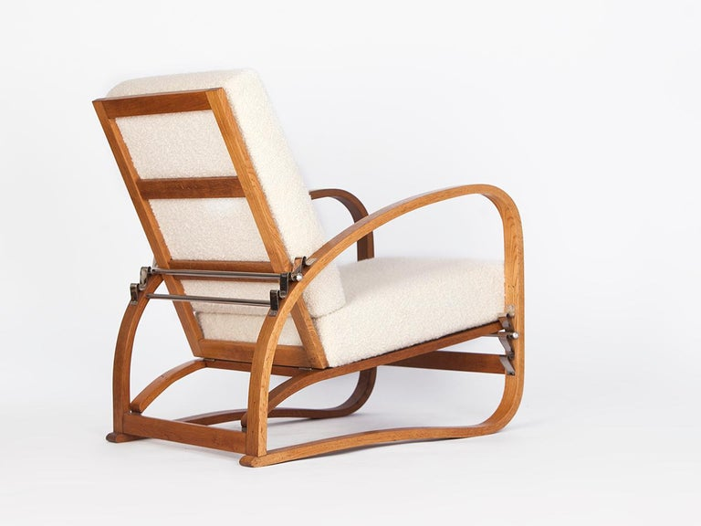 20th Century Adjustable H-70 Armchair by Jindrich Halabala, 1930s For Sale