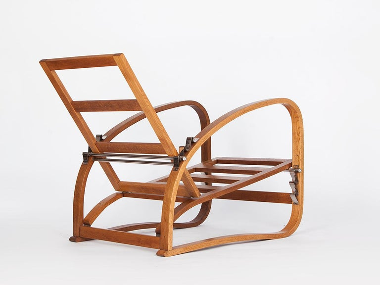 Adjustable H-70 Armchair by Jindrich Halabala, 1930s For Sale 1