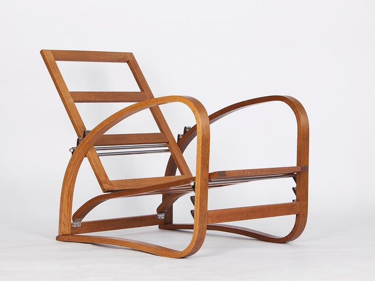 Adjustable H-70 Armchair by Jindrich Halabala, 1930s For Sale 2